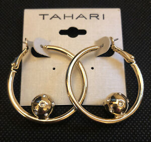 Tahari Polished Gold Tone Hoop Earrings With Gold Tone Ball Accent NWT