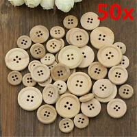 50x DIY 4-Holes Mixed Wooden Buttons Natural Color Round Sewing Scrapbooking Set