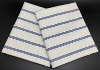 Ralph Lauren Pair Blue White Striped Standard Pillowcases, 100% cotton (RF1047)