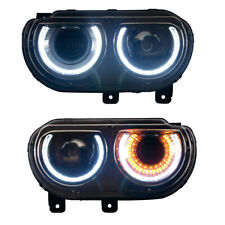 2008-2014 For Dodge Challenger SE R/T Black Housing Headlights RH & LH Pair Set