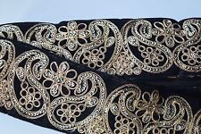 ATTRACTIVE INDIAN PAISLEY EMBROIDERY LACE TRIM -VELVET WIDE (BLACK)SOLD by METRE