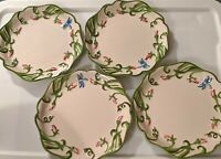 """Set of 4 TEMP-TATIONS DRAGONFLY Embossed SALAD PLATES 8"""" pre-owned"""
