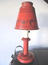 Vintage Red & Black Tole Metal Mid Century Modern 1960s Reading Lamp Light