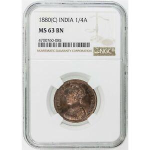INDIA - BRITISH , 1/4 ANNA 1880 C NGC MS 63 BN ,  RARE