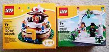 NEW LEGO Birthday Cake Table 40153 & Wedding Bride Groom 40165 Set Best Gift