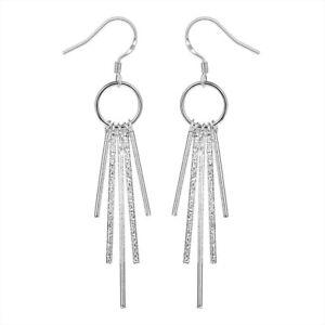 Silver Plated 925 Long Five Bar Sticks Simple Solid Tassel Dangle Plain Earrings