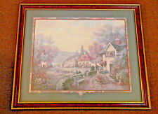 CARL VALENTE, Blooming Village 26.5 x 22.5 Wood Framed Print