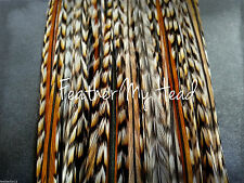 "10 NATURAL CREE  FEATHER HAIR EXTENSIONS, FLY TYING, 7""-9"""