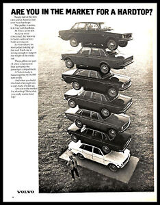 1972 Volvo Hardtop Vintage PRINT AD Cars Stacked Body Construction B&W 1970s