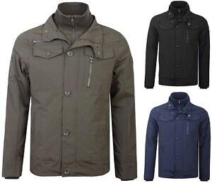 Crosshatch Jacket Double Zipped Padded Coat Mens Funnel Neck Army Style Jacket