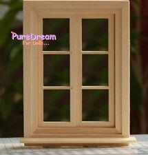 1:12 Scale Dollhouse Miniature Wooden 6 lattice Window With Glass OA017