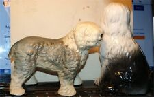 2 VINTAGE SHEEPDOG FIGURES PORCELAIN CHINA LARGE  NICE CONDITION