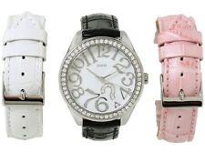 NEW GUESS SS ? QUESTION LOGO LADY WATCH WHITE PINK BLACK STRAPS BOX SET U95096L1