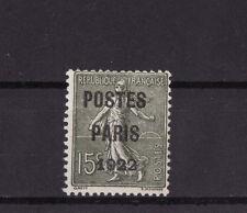 timbre France préoblitéré  Semeuse  POSTES PARIS 1922  15 c vert  n° 31 oblitéré