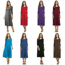 Hotouch Women's 3/4 Sleeve A-line and Flare Midi Long Dress -New with Tags