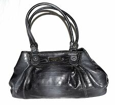 Nine West Charcoal Croc Embossed Faux Leather Large Tote Bag with 2 Straps NWOT