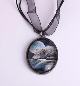Wolf Pendant Necklace 'Quiet Reflection' Design by Lisa Parker