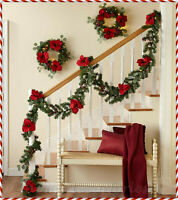 Lighted GARLAND or WREATH Flowers Christmas Holiday Mantel Wall Door w/ Remote