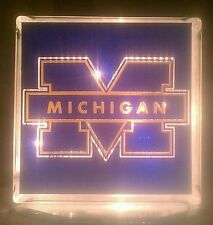 Lighted Michigan Wolverines Glass Block Light~ Home Decor~Gift~Lamp