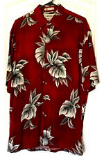 Campia Moda Size Medium Hawaiian Shirt Dark Red Palm Design & Light Gray Palms