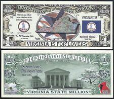 Lot of 100 Bills - Virginia State Million Dollar w Map, Seal, Flag, Capitol