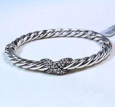 David Yurman Cable Starlight X Bracelet Diamond Silver Size Medium $1950 New