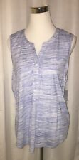 NWT Sonoma Blue Loose Fitting Sleeveless Tank Top 3 Hidden Front Buttons X-Large