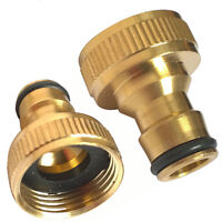 """3/4""""Threaded Brass Tap Connector Adaptor Garden Water Hose Quick Pipe Fitting"""