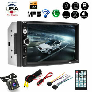 2DIN 7 in HD Car Stereo Radio MP5 Player Bluetooth Touch Screen W/ Rear Camera