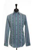 Robert Graham Green Embroidered Stripe Shirt 2XL 11384