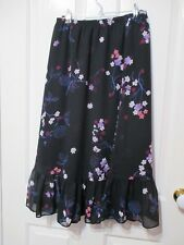 LADIES PICKWORKS BLACK AND PINK FLORAL SKIRT SIZE 10 MADE IN AUSTRALIA