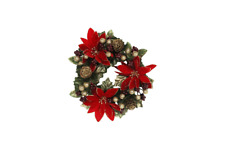 Gisela Graham Poinsettia Gold Berries Pillar Candle Ring Christmas Decoration