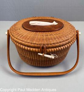 Vintage Nantucket Lightship Basket Purse by The Wooden Jug 1969