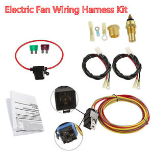 Car Dual Electric Cooling Fan Wiring Harness Install Kit 185/165 Thermostat 40A