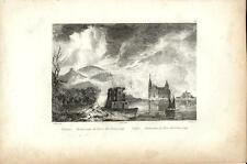 Stampa antica VESUVIO eruzione del 1794 Torre del Greco Napoli 1834 Old print