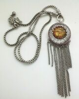 collier pendentif rétro travaillé pampille chaine déco rhodié couleur argent 58