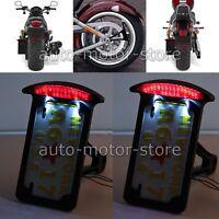 Black Motorcycle Side Mount License Plate Holder Bracket Brake Light For Bobber