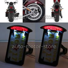 Black Motorcycle Side Mount License Plate Holder Bracket Brake Light For Bobber
