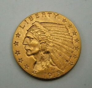 1915 US - $2 1/2 Dollar Gold Indian Head, Quarter Eagle Coin