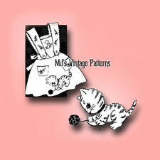 Vintage Girl's Pinafore Pattern ~ Kitty with Yarn ~ sizes 2, 4, 6