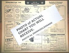 1948 Oldsmobile EIGHT Series 68, 78 & 98 Models AEA Tune Up Chart LAST 1!