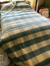 "Nice Extra Long Vintage Blue Check Cotton Camp Stadium Picnic Blanket 66""x 150"""