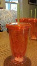 "NEW COOL GEAR Orange ""Pumpkin"" 18oz Chiller with Straw Halloween BPA Free Cup 5"