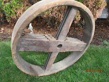 "48"" Line Shaft Wooden Flat Belt Pulley Flour Wheat Mill Windmill Water Wheel"