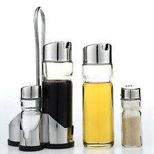 5 Piece Cruet Condiment Set Glass Salt Pepper Oil & Vinegar Dispencer Rack Stand