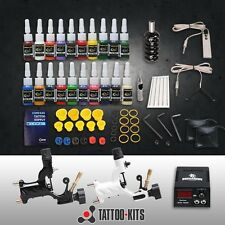 Complete Rotary Tattoo Machine Kit 2 Motor Gun Power Supply Needles 20 Inks Set