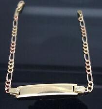 "10K Yellow/Rose Gold Diamond Cuts Baby link ID Bracelet, Lobster Lock 6"" A1B7"
