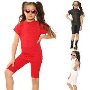 Girls Cycling Shorts Set Quilted High Neck Top Summer Outfit Cap Sleeve 2-12 Yrs