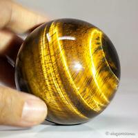 375g 65mm Natural Golden Yellow Tiger Eye Quartz Crystal Sphere Healing Ball