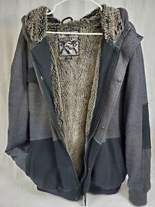 Fox Sasquatch Hoody Thick Faux Fur-Lined Mens XXL Black/Charcoal Zip Sweatshirt
